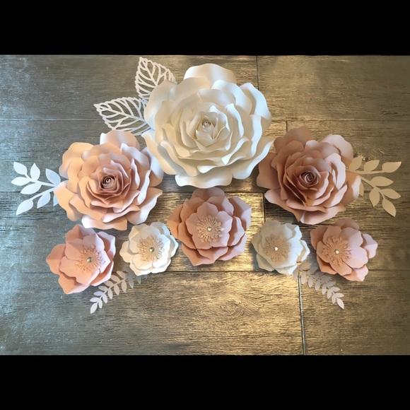 Set Of Large Paper Flowers Nursery Wall Decor
